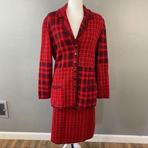 Escada Red Wool Mohair Blend Skirt Suit Set